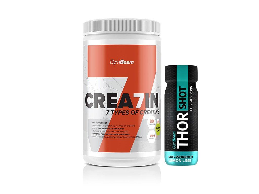 gymbeam crea7in 600 g + thor shot