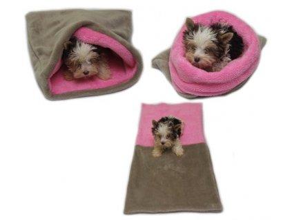 Marysa pelíšek 3v1 pro psy, tmavě hnědý/béžový, velikost XL