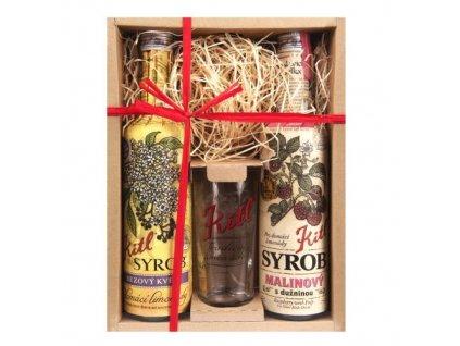 Kitl Syrob dárkové balení se skleničkou (Černý bez, Malina) 2x500 ml