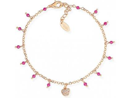Amen Růžově pozlacený stříbrný náramek s krystaly a zirkony Romance BRCRROZ