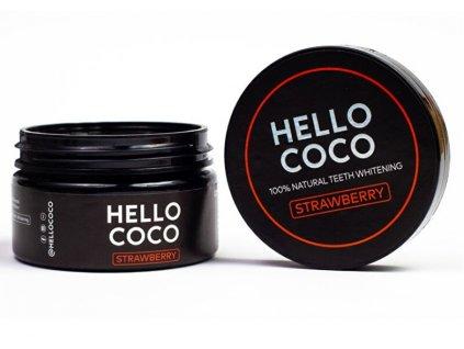 Hello Coco Aktivní uhlí na bělení zubů s příchutí jahody 100 % Natural Teeth Whitening STRAWBERRY 30 g