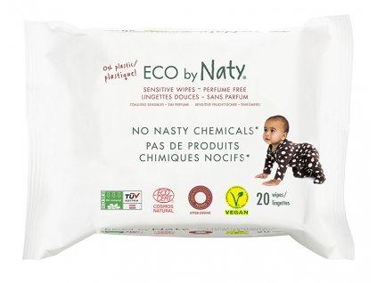 Eco by Naty Vlhčené ubrousky Naty bez vůně - pro citlivou pokožku (20 ks)