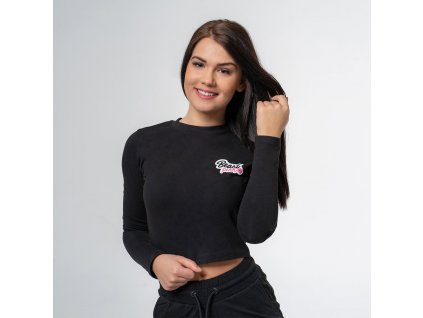 Tričko Long Sleeve Croptop Black - BeastPink