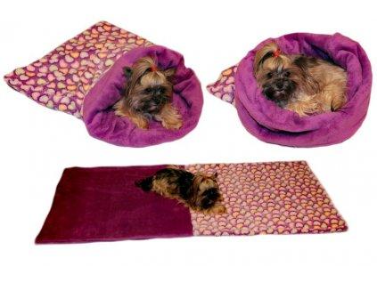 Marysa pelíšek 3v1 pro psy, srdíčko/fialový, velikost XL