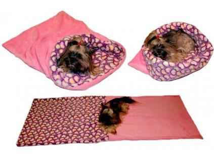 Marysa pelíšek 3v1 pro psy, srdíčka/růžový, velikost XL