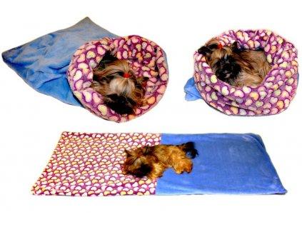 Marysa pelíšek 3v1 pro psy, srdíčka/modrý, velikost XL
