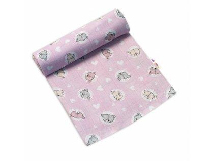 Baby Nellys Kvalitní bavlněná plenka - Tetra Premium, 70x80cm - Medvídek, růžová