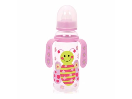 Dětská kojenecká láhev s oušky Lorelli 250 ml PINK BUTTERFLY