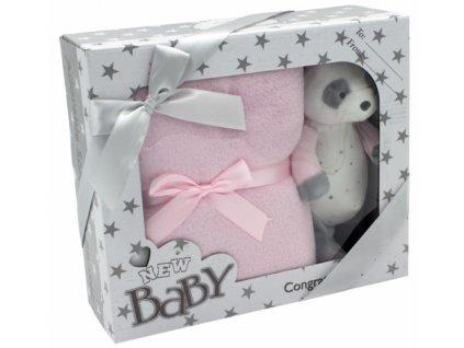 Tulilo Dětská sada deka + plyšová hračka Medvídek Panda - růžová