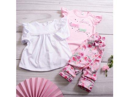 K-Baby 3 dílná sada - body s volánkem, tunika a legíny s květy - růžová