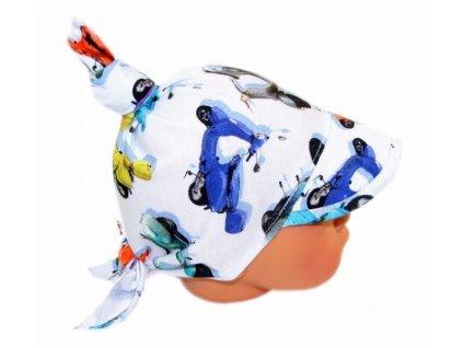 Baby Nellys Dětský bavlněný šátek s kšiltem na zavazování, motorky - modrá