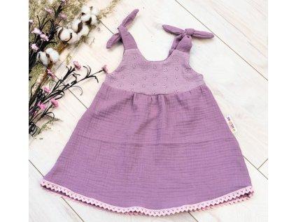 Baby Nellys Letní lehoučké mušelínové šaty Summer - lila, levandule