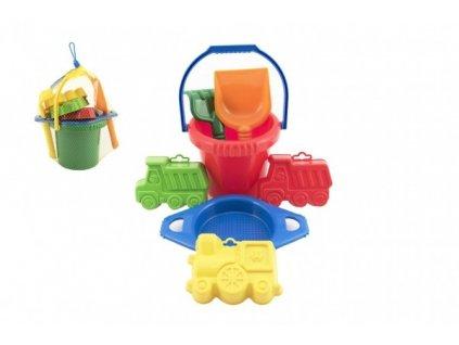 Kbelík sítko lopatka hrabičky 3 bábovky plast v síťce 20x28x12cm 12m+