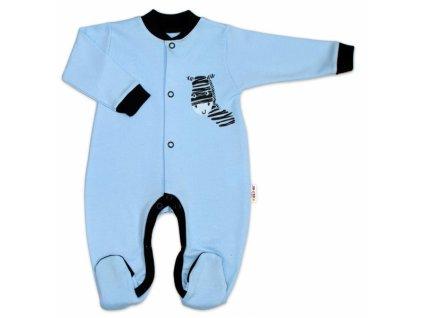 Baby Nellys Bavlněný overálek Zebra - modrý