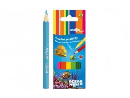 Pastelky barevné dřevo krátké Ocean World šestihranné 6 ks v krabičce 4,5x11x1cm 24ks