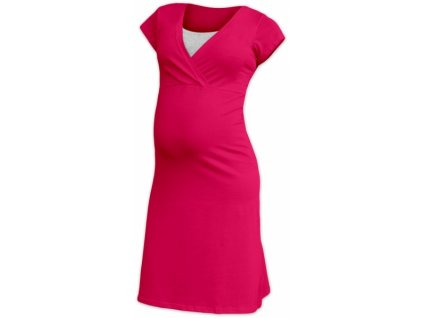 JOŽÁNEK Těhotenská, kojící noční košile EVA, krátký rukáv - sytě růžová, M/L