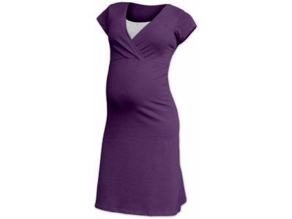 JOŽÁNEK Těhotenská, kojící noční košile EVA, krátký rukáv - švestková