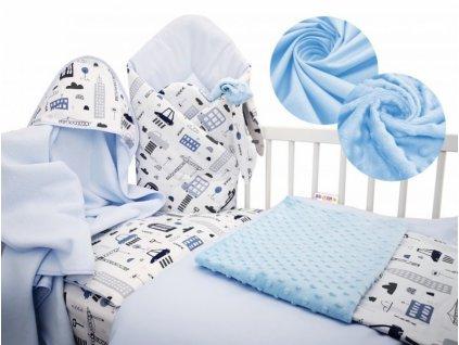 Baby Nellys 6-ti dílná výhodná sada s dárkem pro miminko, 120 x 90 cm - Auta ve městě