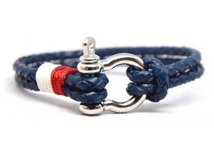 Cordell Pánský kožený náramek Bolo - modrá