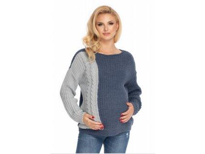 Be MaaMaa Těhotenský svetr, pletený vzor - jeans/šedá