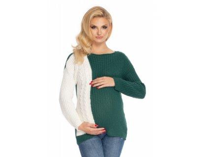 Be MaaMaa Těhotenský svetr, pletený vzor - zelená/bílá
