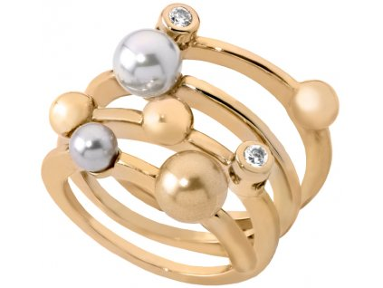 Majorica Spirálový pozlacený prsten s perlami 10554.34.1.911.010.1