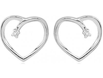 Art Diamond Stříbrné srdíčkové náušnice na šroubek s diamanty DAGUP1253S
