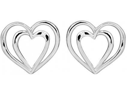 Art Diamond Stříbrné srdíčkové náušnice na šroubek s diamanty DAGUP1260S